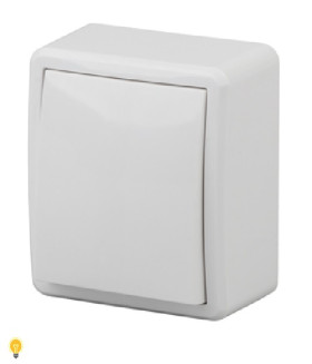 Выключатель с подсветкой, 10АХ-250В, ОУ, Эра Эксперт, белый 11-1202-01
