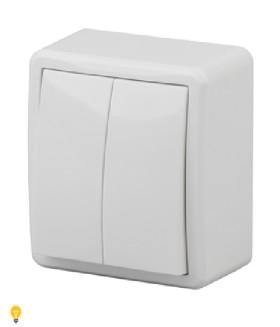 Выключатель двойной, 10АХ-250В, ОУ, Эра Эксперт, белый 11-1204-01