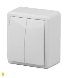 Выключатель двойной с подсветкой, 10АХ-250В, ОУ, Эра Эксперт, белый 11-1205-01