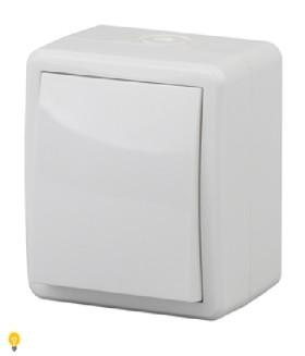 Выключатель IP54, 10АХ-250В, ОУ, Эра Эксперт, белый 11-1401-01