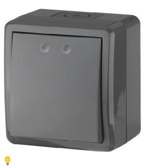 Выключатель IP54, 10АХ-250В, ОУ, Эра Эксперт, серый 11-1401-03