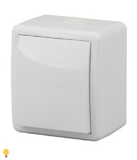 Выключатель с подсветкой IP54, 10АХ-250В, ОУ, Эра Эксперт, белый 11-1402-01