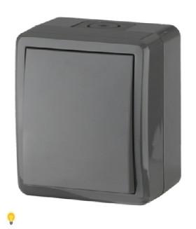 Выключатель с подсветкой IP54, 10АХ-250В, ОУ, Эра Эксперт, серый 11-1402-03