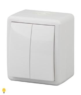 Выключатель двойной IP54, 10АХ-250В, ОУ, Эра Эксперт, белый  11-1404-01