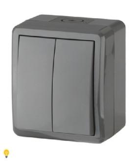 Выключатель двойной IP54, 10АХ-250В, ОУ, Эра Эксперт, серый 11-1404-03