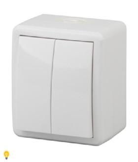 Выключатель двойной с подсветкой IP54, 10АХ-250В, ОУ, Эра Эксперт, белый 11-1405-01