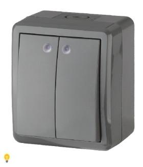 Выключатель двойной с подсветкой IP54, 10АХ-250В, ОУ, Эра Эксперт, серый 11-1405-03