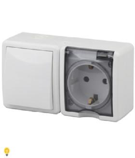 Блок розетка+выключатель IP54, 16АХ(10AX)-250В, ОУ, Эра Эксперт, белый 11-7401-01