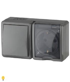 Блок розетка+выключатель IP54, 16АХ(10AX)-250В, ОУ, Эра Эксперт, серый 11-7401-03