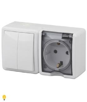 Блок розетка+выключатель двойной IP54, 16АХ(10AX)-250В, ОУ, Эра Эксперт, белый 11-7402-01