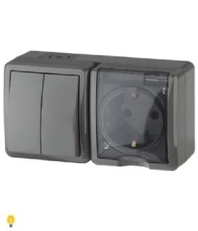 Блок розетка+выключатель двойной IP54, 16АХ(10AX)-250В, ОУ, Эра Эксперт, серый 11-7402-03