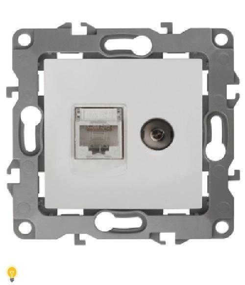 Розетка информационная RJ45+TV, Эра12, белый 12-3110-01