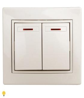Выключатель двойной с подсветкой, 10АХ-250В, СУ, Plano, слоновая кость 1-105-02 Intro