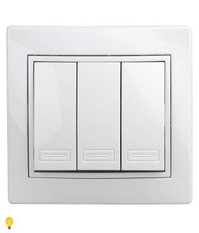 Выключатель тройной, 10АХ-250В, СУ, Plano, белый 1-106-01 Intro