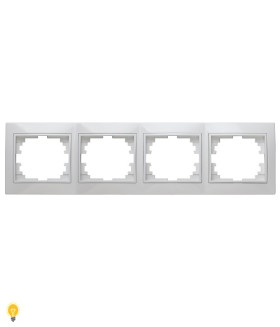 Рамка на 4 поста гор., СУ, Plano, белый 1-504-01 Intro