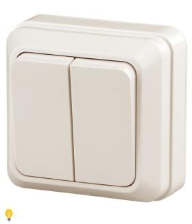 Выключатель двойной, 10АХ-250В, ОУ, Quadro, слоновая кость 2-104-02 Intro