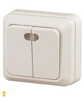 Выключатель двойной с подсветкой, 10АХ-250В, ОУ, Quadro, слоновая кость 2-105-02 Intro