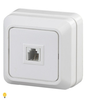 Розетка телефонная RJ11, ОУ, Quadro, белый 2-302-01 Intro
