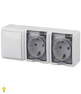 Блок две розетки+выключатель IP54, 16АХ(10AX)-250В, ОУ, Эра Эксперт, белый 11-7403-01