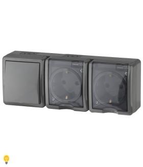 Блок две розетки+выключатель IP54, 16АХ(10AX)-250В, ОУ, Эра Эксперт, серый 11-7403-03