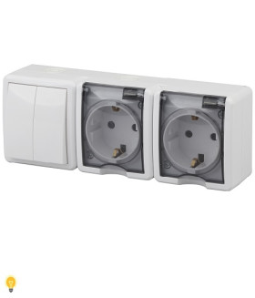 Блок две розетки+выключатель двойной IP54, 16АХ(10AX)-250В, ОУ, Эра Эксперт, белый 11-7404-01
