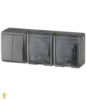 Блок две розетки+выключатель двойной IP54, 16АХ(10AX)-250В, ОУ, Эра Эксперт, серый 11-7404-03