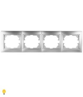 Рамка на 4 поста гор., СУ, Plano, алюминий 1-504-03 Intro