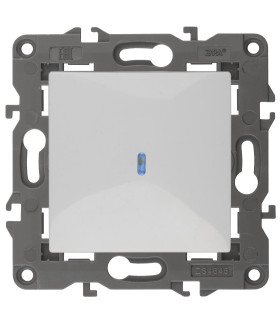 Выключатель с подсветкой, 10АХ-250В, IP20, Эра Elegance, белый 14-1102-01