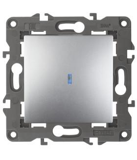 Выключатель с подсветкой, 10АХ-250В, IP20, Эра Elegance, алюминий 14-1102-03