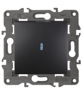 Выключатель с подсветкой, 10АХ-250В, IP20, Эра Elegance, антрацит 14-1102-05