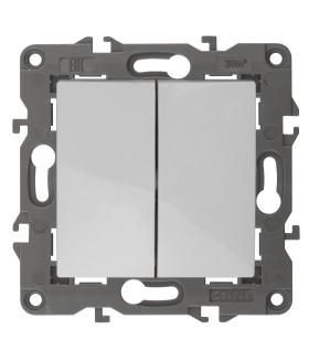 14-1104-01 Эл/ус ЭРА Выключатель двойной, 10АХ-250В, IP20, Эра Elegance, белый