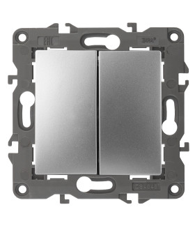 14-1104-03 Эл/ус ЭРА Выключатель двойной, 10АХ-250В, IP20, Эра Elegance, алюминий