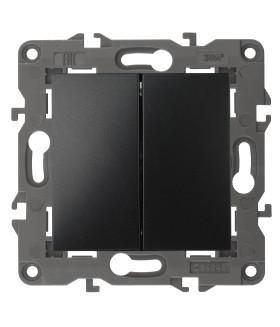 14-1104-05 Эл/ус ЭРА Выключатель двойной, 10АХ-250В, IP20, Эра Elegance, антрацит