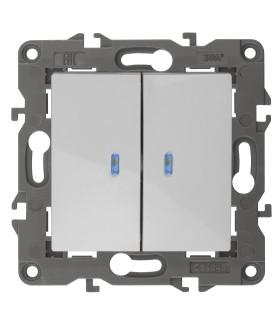 14-1105-01 Эл/ус ЭРА Выключатель двойной с подсветкой, 10АХ-250В, IP20, Эра Elegance, белый