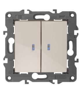 14-1105-02 Эл/ус ЭРА Выключатель двойной с подсветкой, 10АХ-250В, IP20, Эра Elegance, сл.кость