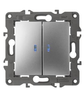 14-1105-03 Эл/ус ЭРА Выключатель двойной с подсветкой, 10АХ-250В, IP20, Эра Elegance, алюминий