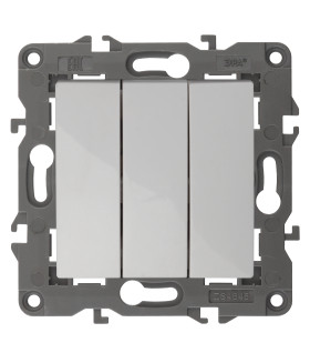 Выключатель тройной, 10АХ-250В, IP20, Эра Elegance, белый 14-1107-01