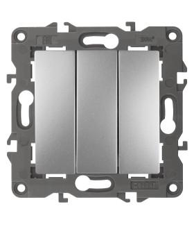 Выключатель тройной, 10АХ-250В, IP20, Эра Elegance, алюминий 14-1107-03