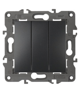 Выключатель тройной, 10АХ-250В, IP20, Эра Elegance, антрацит 14-1107-05