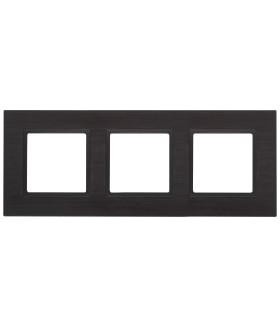 Рамка на 3 поста, металл, Эра Elegance, чёрный+антрацит 14-5203-05