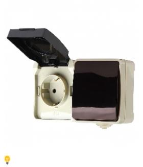 """Блок розетка выключатель, IP54 """"Сатурн"""" (SBE-04w-16-SWS)"""