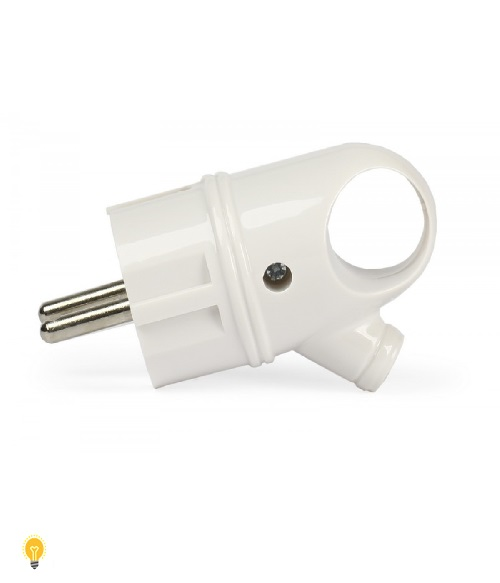 Вилка Smartbuy, с кольцом с заземлением белая 16А 250В (SBE-16-P03-w)
