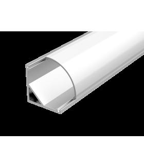 Алюминиевый профиль для LED ленты с рассеивателем для углового монтажа 2000мм посадочное место 10мм