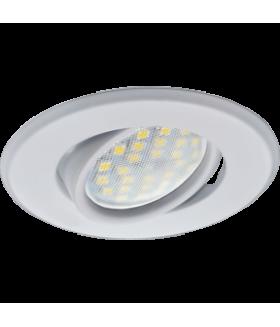Ecola MR16 DH09 GU5.3 Светильник встр. поворотный плоский (скрытый крепеж лампы) Белый 25x90 (кd74)