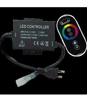 Ecola LED strip 220V RGB RF controller (IP20) 1500W 6,6A для ленты 220V 16x8 IP68 с кольцевым сенсорным черным радиопультом