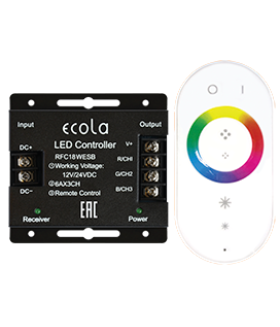 Ecola LED strip RGB RF controller 18A 216W 12V (432W 24V) с кольцевым сенсорным белым радиопультом