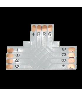 Ecola LED strip connector гибкая соед. плата T для зажимного разъема 4-х конт. 10 mm уп. 5 шт.