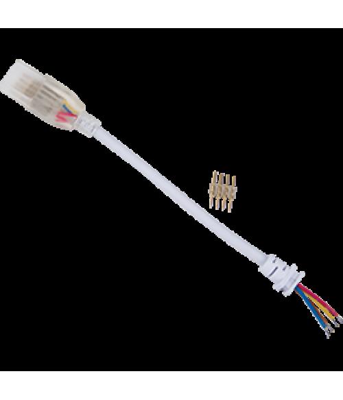 Ecola LED strip 220V connector кабель RGB 150мм с муфтой и разъемом IP68 для ленты RGB 14x7