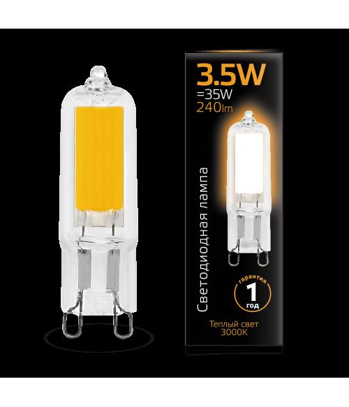 Лампа Gauss LED G9 AC220-240V 3.5W 3000K Glass 1/10/200
