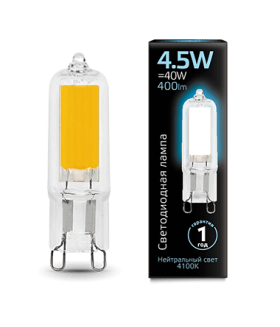 Лампа Gauss LED G9 AC220-240V 4.5W 4100K Glass 1/10/200